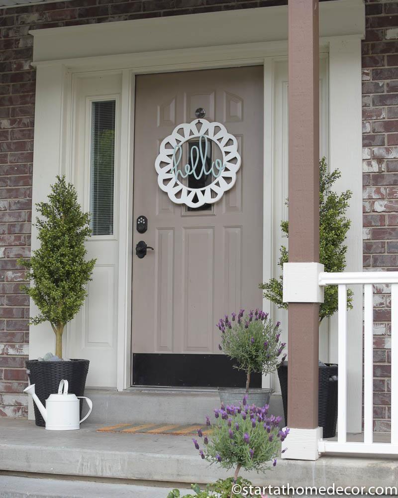 Handwritten Hello or Welcome Front Door Hanger Wreath & Handwritten Hello or Welcome Front Door Hanger Wreath | Front doors ...