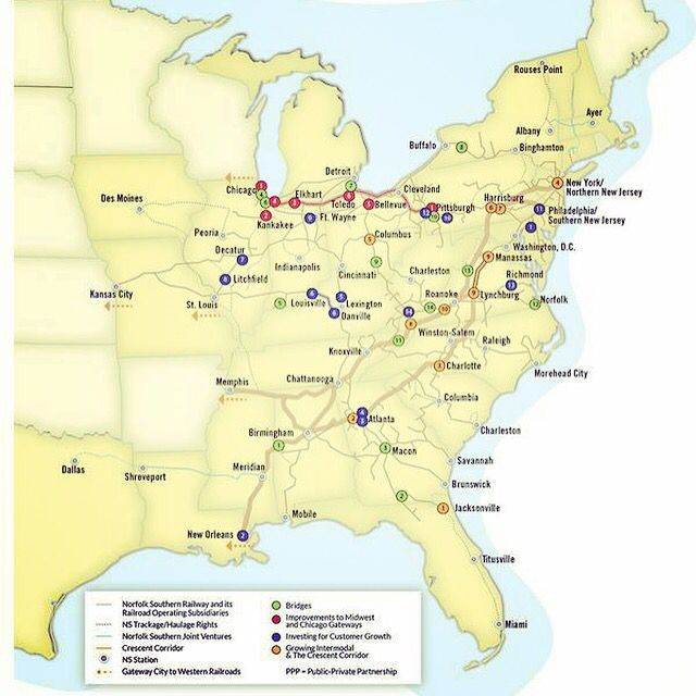 With Track And Facilities Across Miles And States - Norfolk southern system map