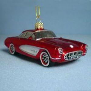 KSA Pack of 6 Hand Painted 1957 Red Corvette Car Glass Christmas ...