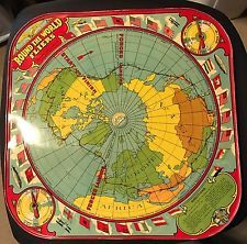 1930s wolverine tin litho round the world fliers board game board 1930s wolverine tin litho round the world fliers board game board world map gumiabroncs Images