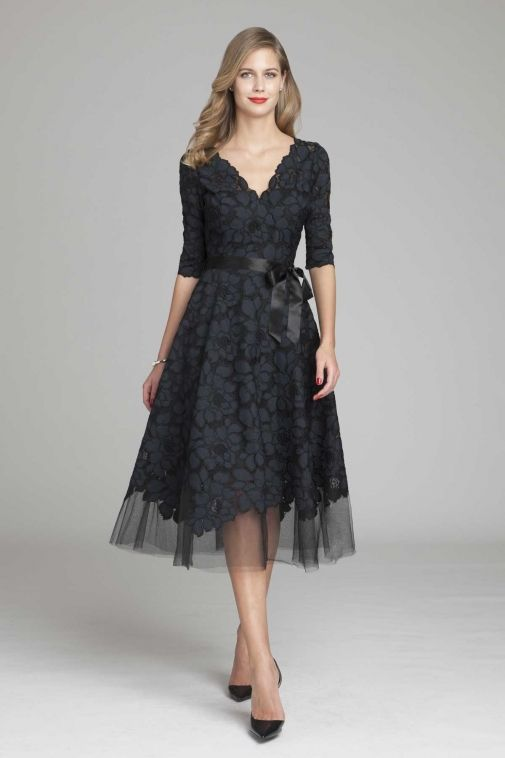 3 4 Sleeve Lace And Tulle Fit And Flare Dress Tea Length