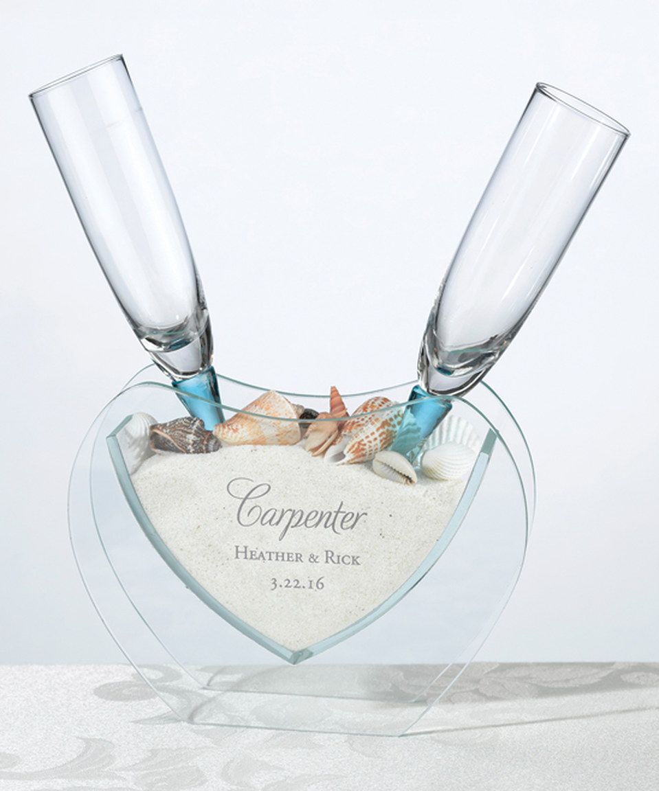 Lillian Rose Personalized Coastal Sand Toasting Glass Set | Wedding ...