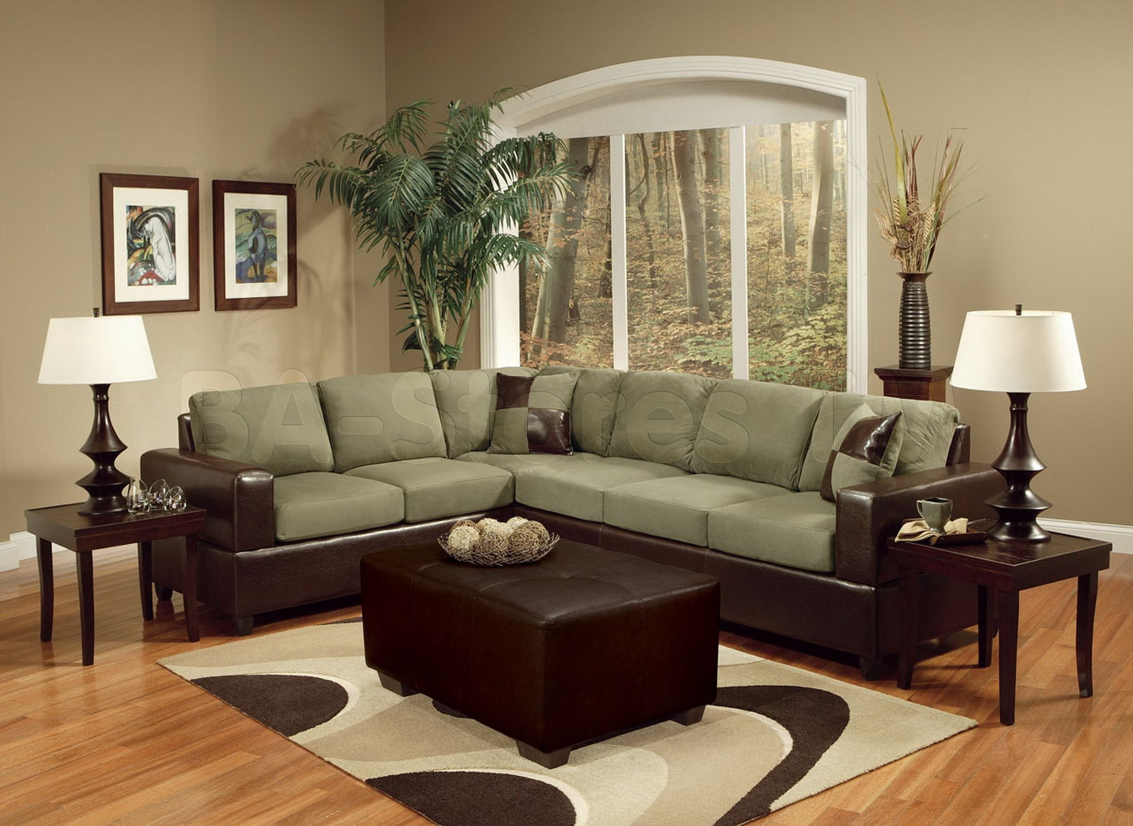 Madrid Pebble Easy Rider Espresso Bycast PU 2 PC Sectional Sofa
