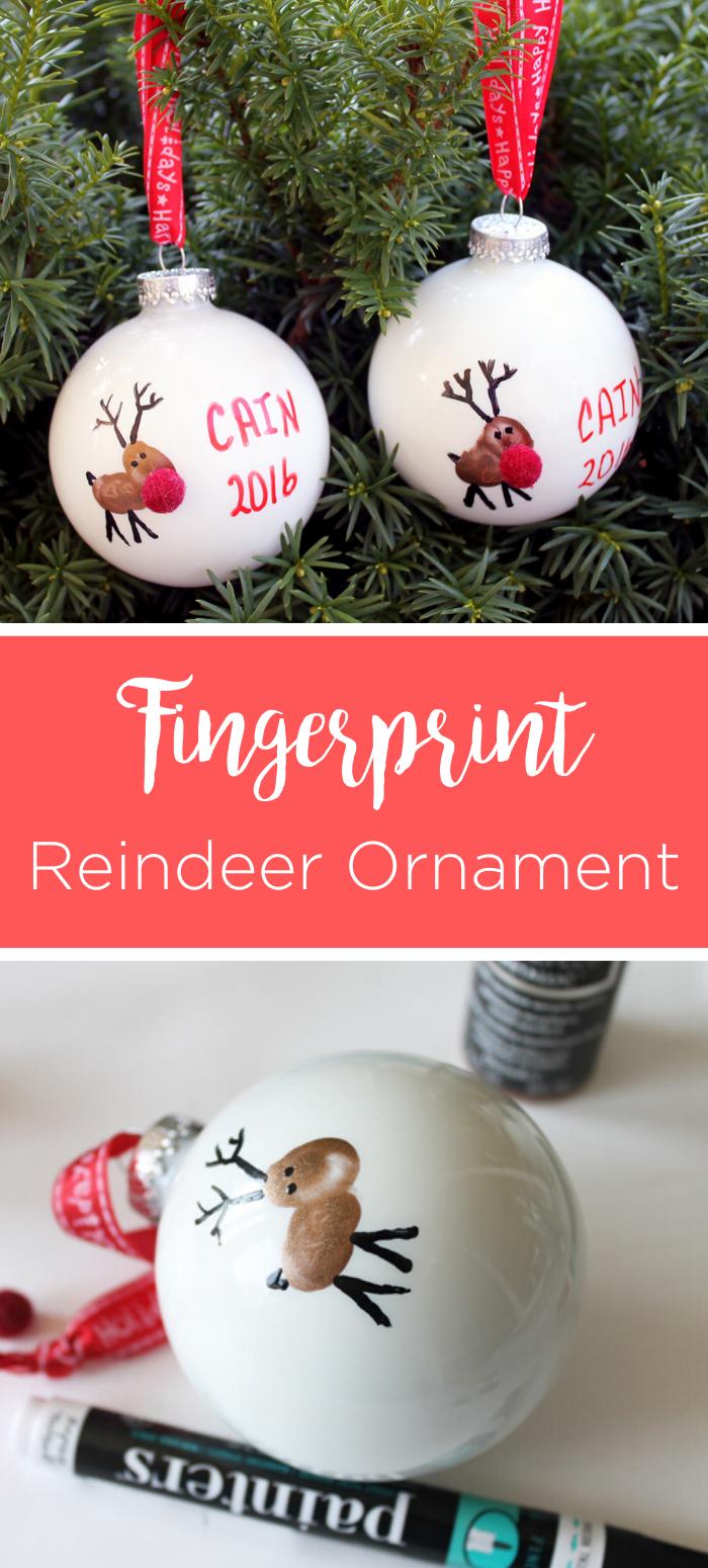 Fingerprint Christmas Ornament Reindeer Kids Christmas Crafts Ornaments Kids Christmas Ornaments Christmas Gifts For Kids