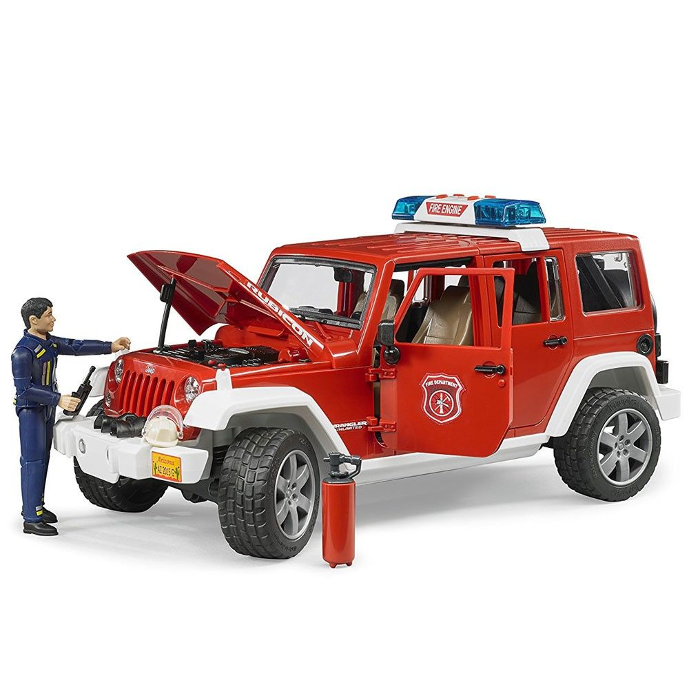 Bruder Jeep Rubicon Fire Rescue With Fireman Vehicle Set Jeep