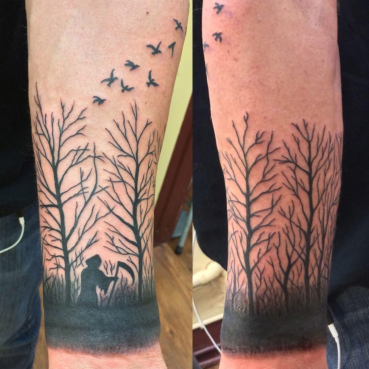 Dead trees birds tattoo by jon reed all saints tattoo