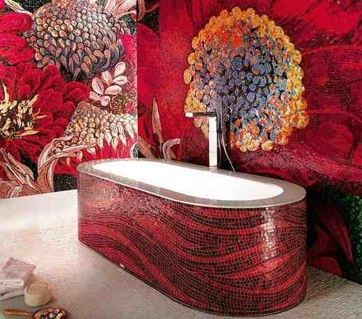 Glass Mosaic Tile, Red Mosaic Tile, Flower Mosaic For Bathroom,red And Black