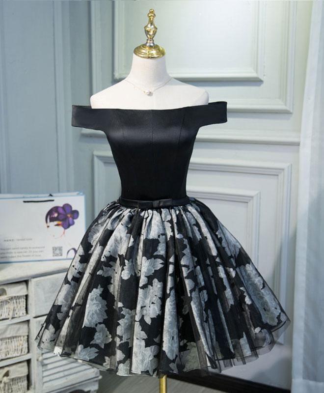 Lindo vestido de fiesta corto negro, vestido de noche con hombros descubiertos – EE. UU.: 6  – Moda