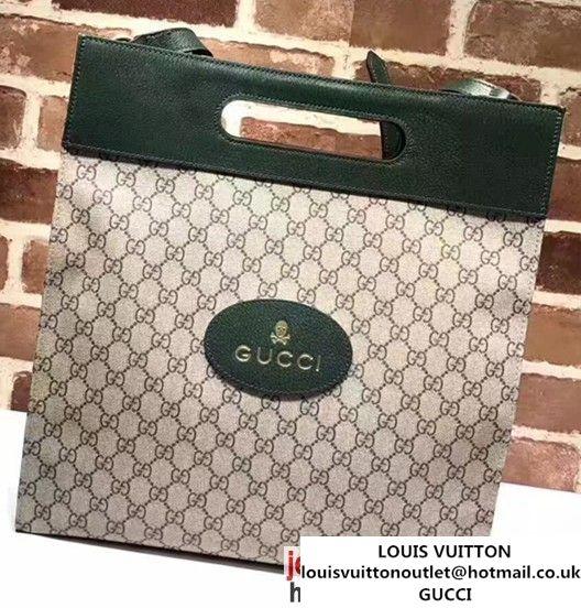 e8525deda7af Ladies Fashion. Female Fashion. Designer Bags. Moda Femenina. Gucci Soft GG  Supreme With Dark Green Leather Trim Tote 463491 2017 Luxury Bags