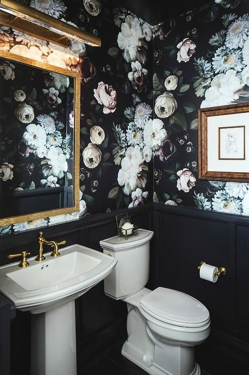 Ellie Cashman Dark Floral Wallpaper covers the upper walls