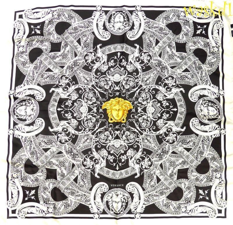 e41e1c207f VERSACE white VENETIAN Baroque LIONS gold Medusa Silk 35