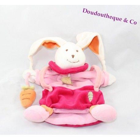 Doudou marionnette lapin DOUDOU ET COMPAGNIE carotte rose orange