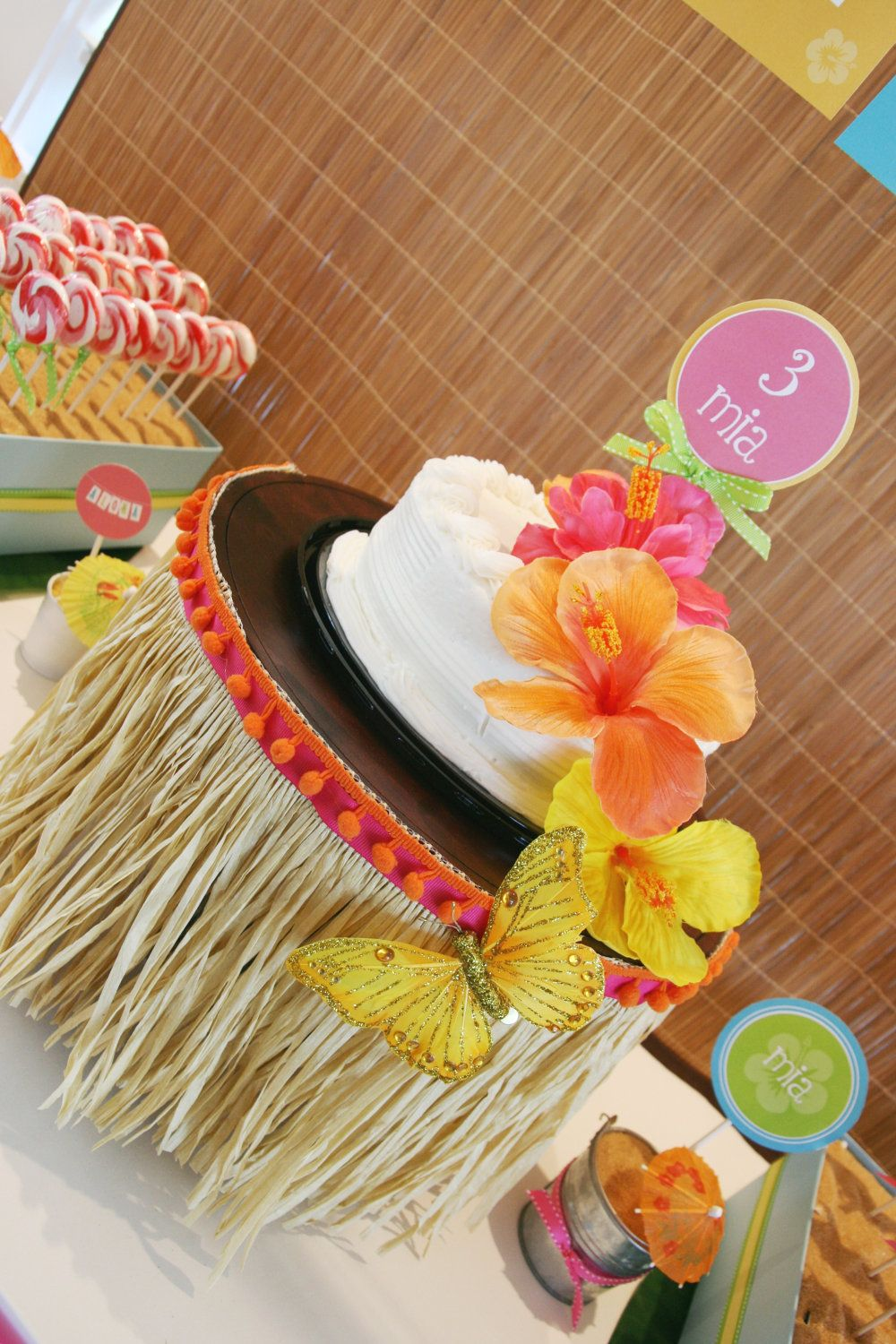The Simplest Of Cakes Dressed Up With A Grass Skirt Makes