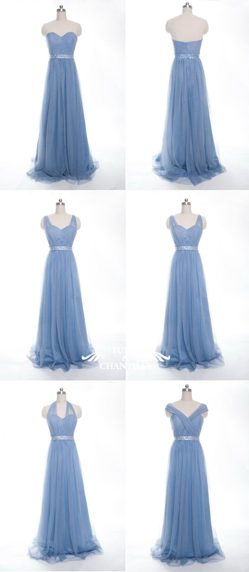 Long convertible tulle windsor blue bridesmaid dresses for spring