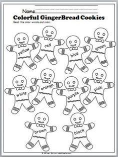 Free Color Words Gingerbread Cookies worksheet. Great