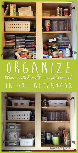 Organizing The Catch All Cupboard Overstuffed Life Organization Storage And Organization Home Organization