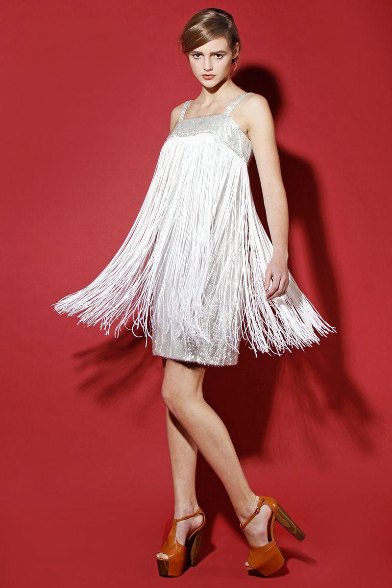 vintage 1960s metallic silver fringe dress http