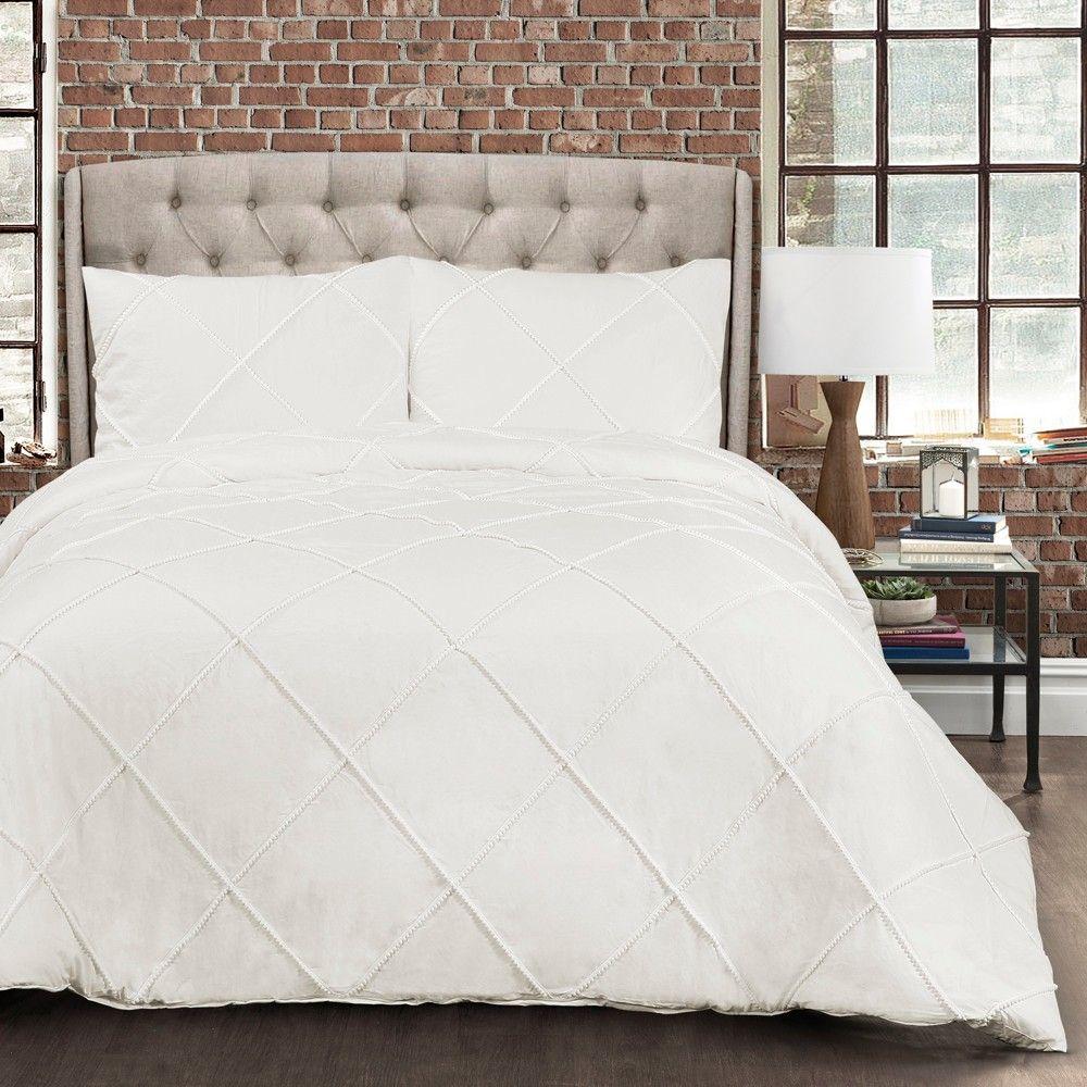 White Diamond Pom Pom Comforter Set Full Queen Lush Decor