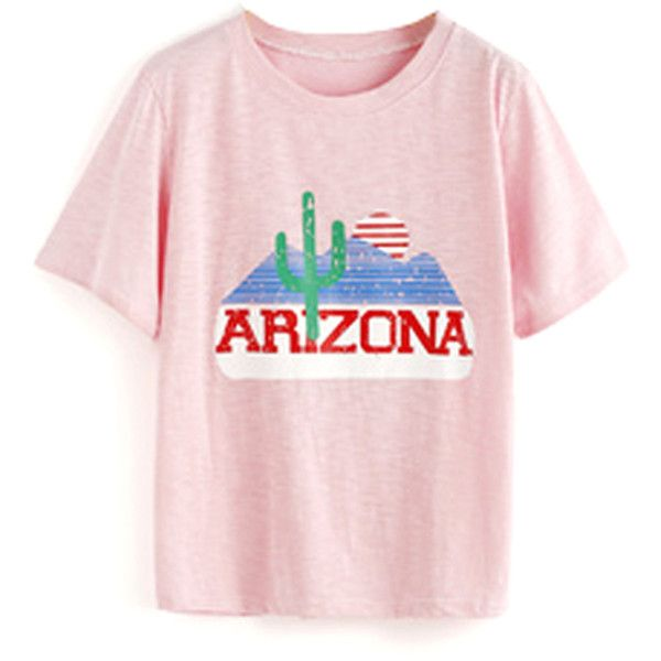 51588e7bbfaf FAIR+true Fairly Made Retro Arizona Tee ($32) ❤ liked on Polyvore featuring  tops, t-shirts, retro tops, pink top, retro t shirts, logo design t shirts  and ...
