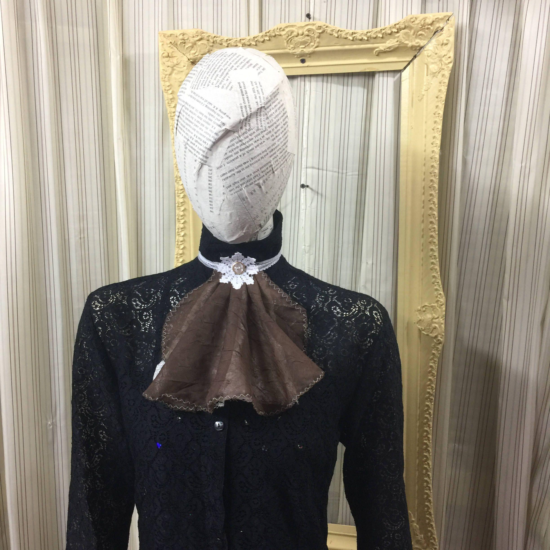 Victorian lace collar Jabot drape Elegant Gothic Lolita  Steampunk brown sheer Cream lace cosplay Geechlark 5075 by Geechlark on Etsy