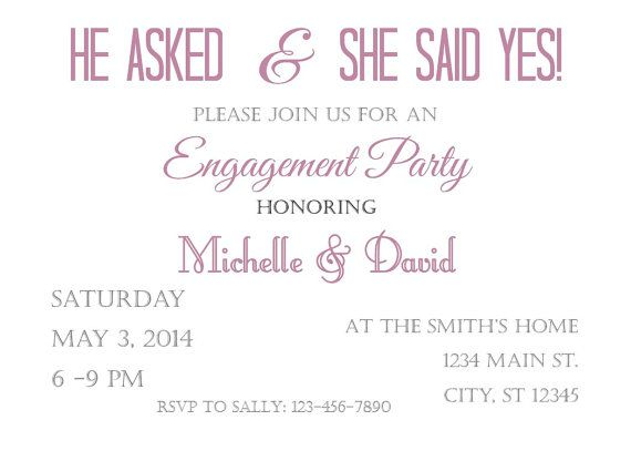 personalized Engagement party Invitation 5x7 by atasteofeverything – Personalized Engagement Party Invitations