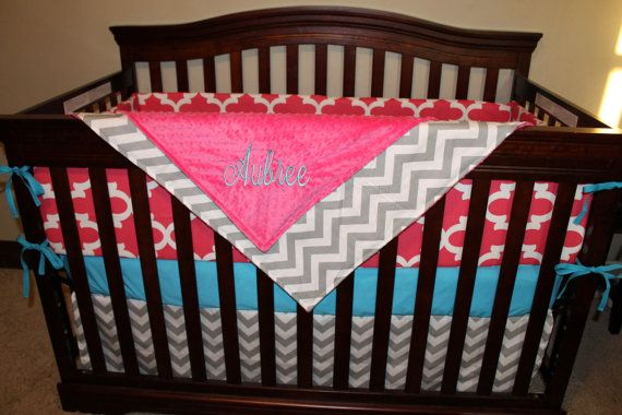 Hot Pink Fynn Gray Chevron and Turquoise Crib by DesignsbyChristyS