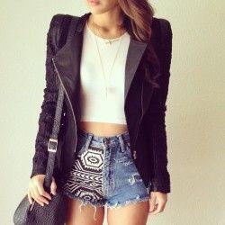 aztec/denim jean shorts, white cropped top, leather blazer jacket