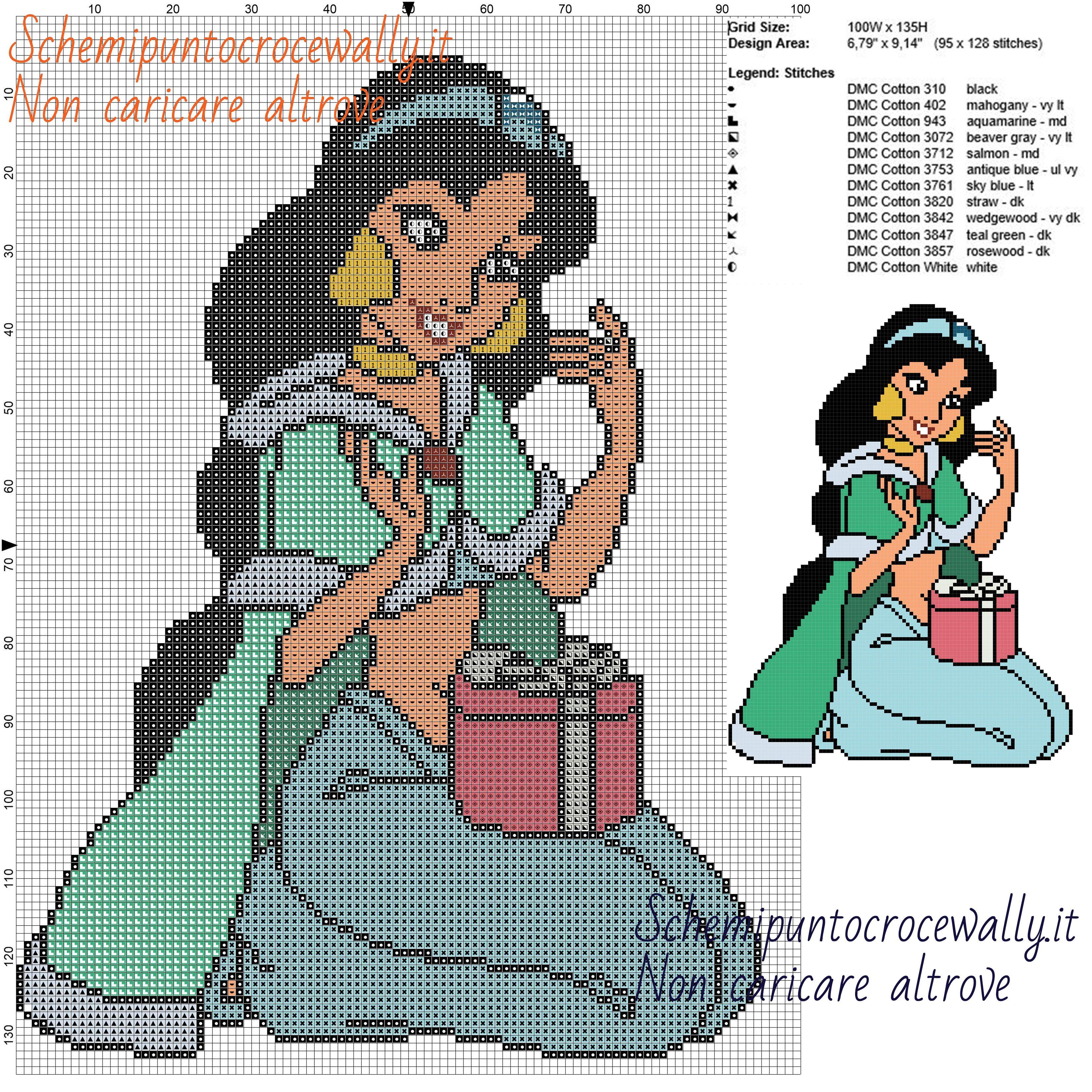 Jasmine nalizia schema disney gratis a punto croce 100x135 for Schemi gratis punto croce disney