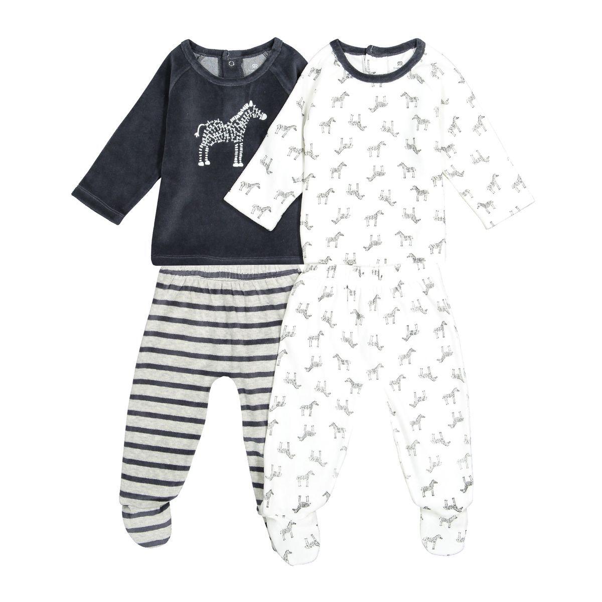 c167aa918460b Lot De 2 Pyjamas Velours Thème Zèbre, 0 Mois-3 Ans - Taille : 0 mois ...