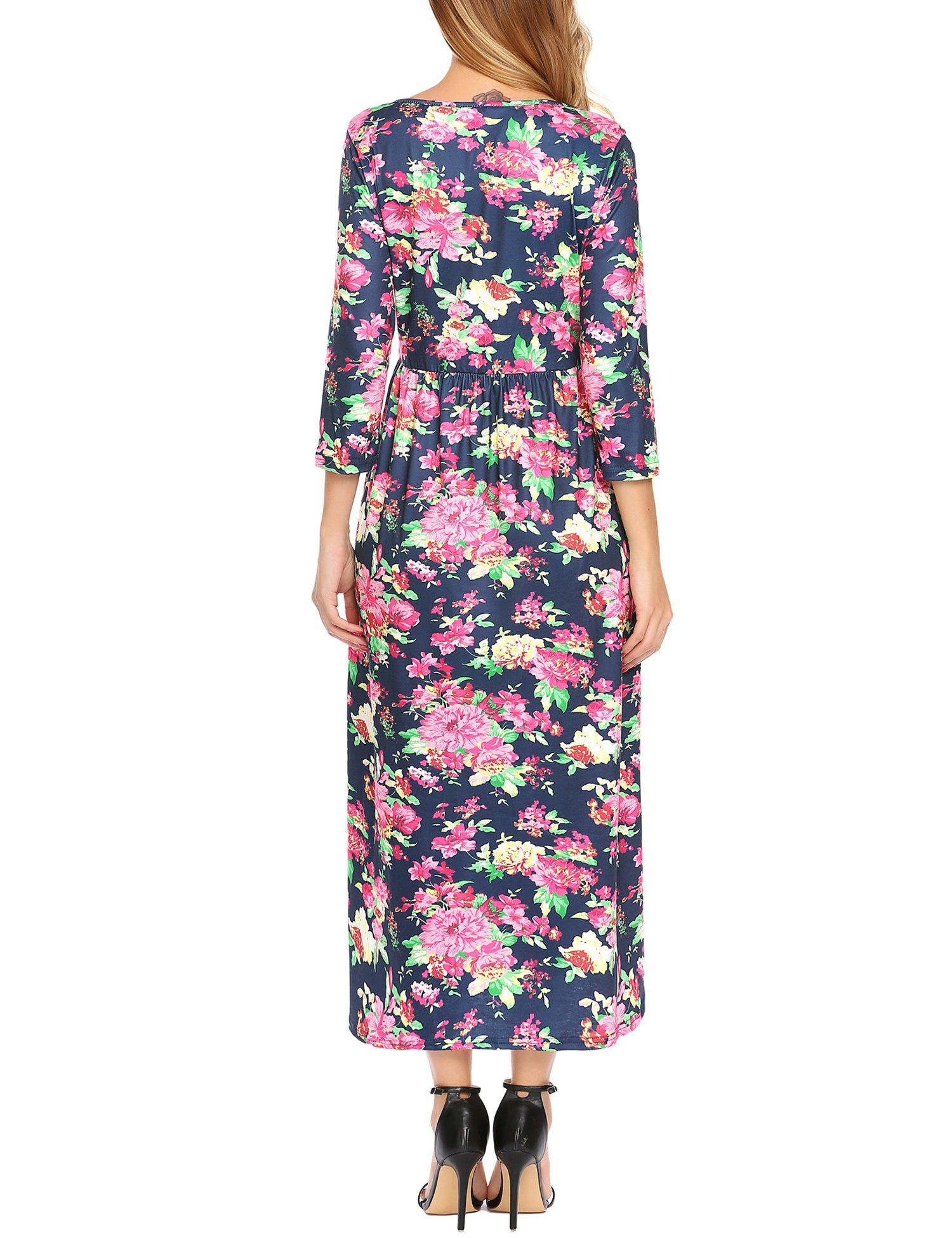 Elesol womens casual sleeve floral printed plus size long party