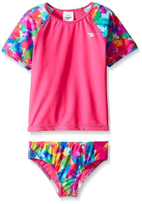 74e943cc8a Speedo Girls Short Sleeve Printed Rash Guard Two Piece Swim T-Shirt/Shorts  Set, Electric Pink (affiliate)