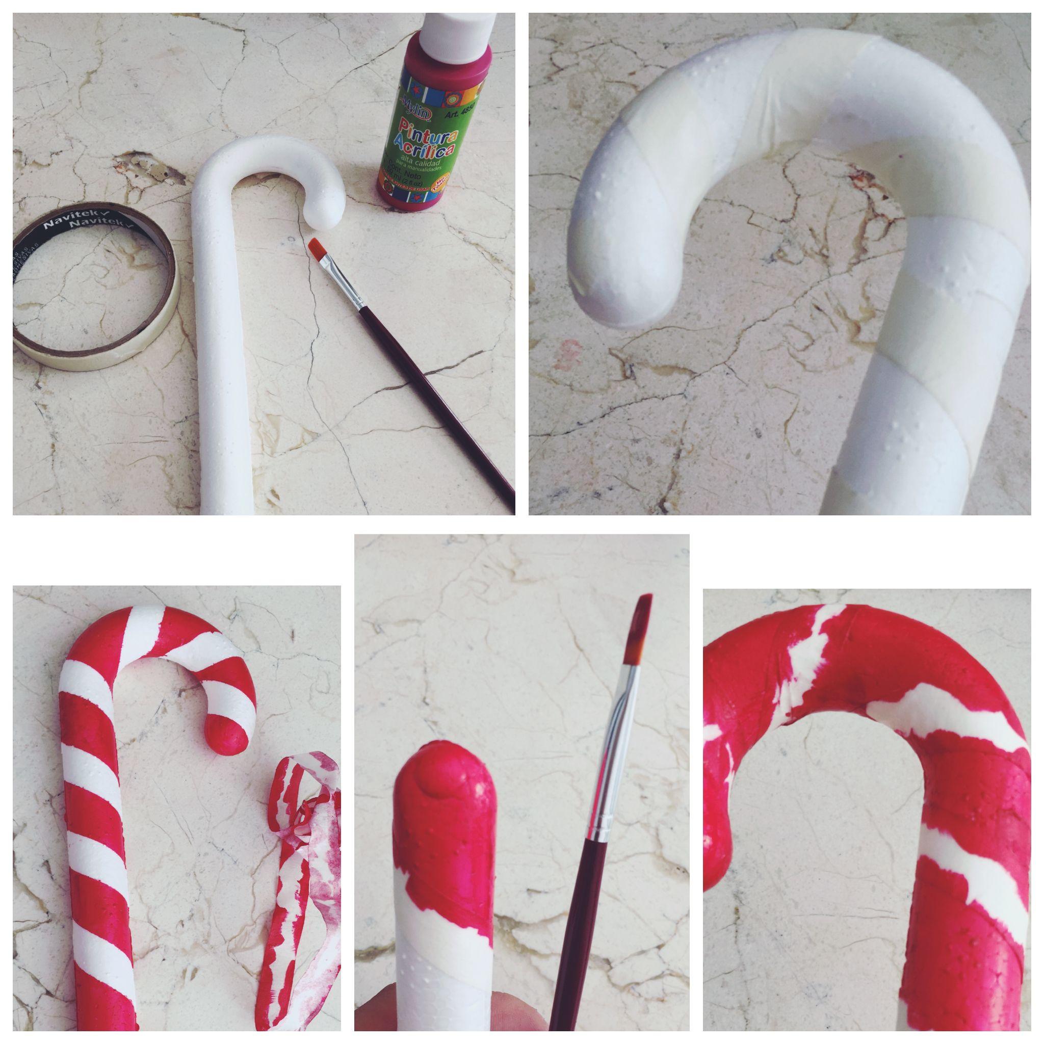 Manualidad: Bastón de caramelo para Navidad. Material: Bastón de ...