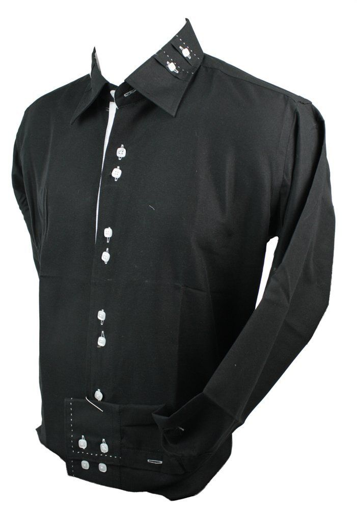 Mens Italian Button Collar Shirt Black White Stitch Trim Slim Fit ...