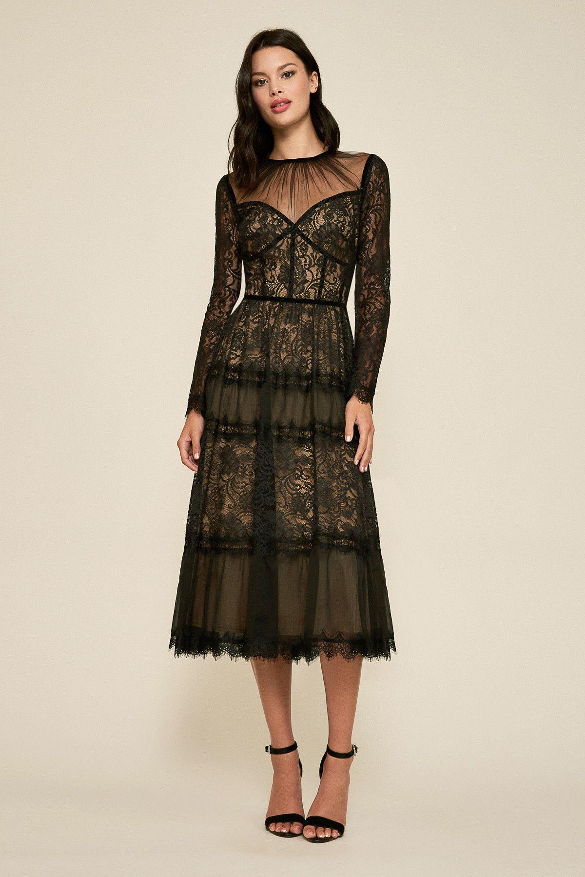 d1d35b57f4 Tatiana Long-Sleeve Tea-Length Lace Dress | Tadashi Shoji | Random ...