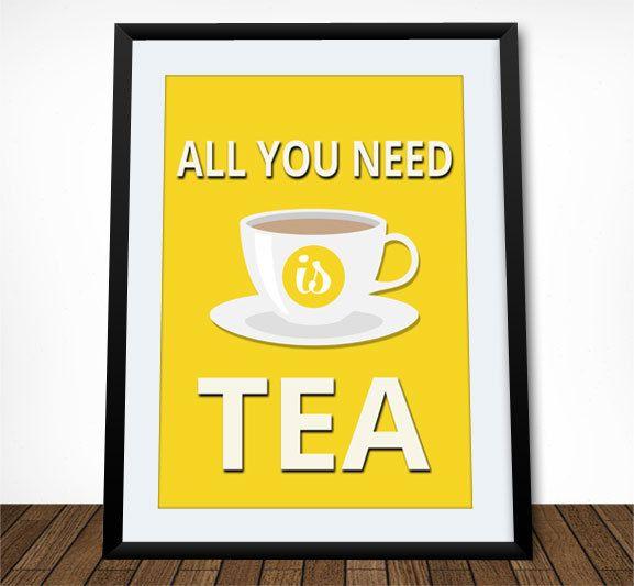 Tea Poster, Kitchen Print, Kitchen Decor, Tea Print, Kitchen Wall ...