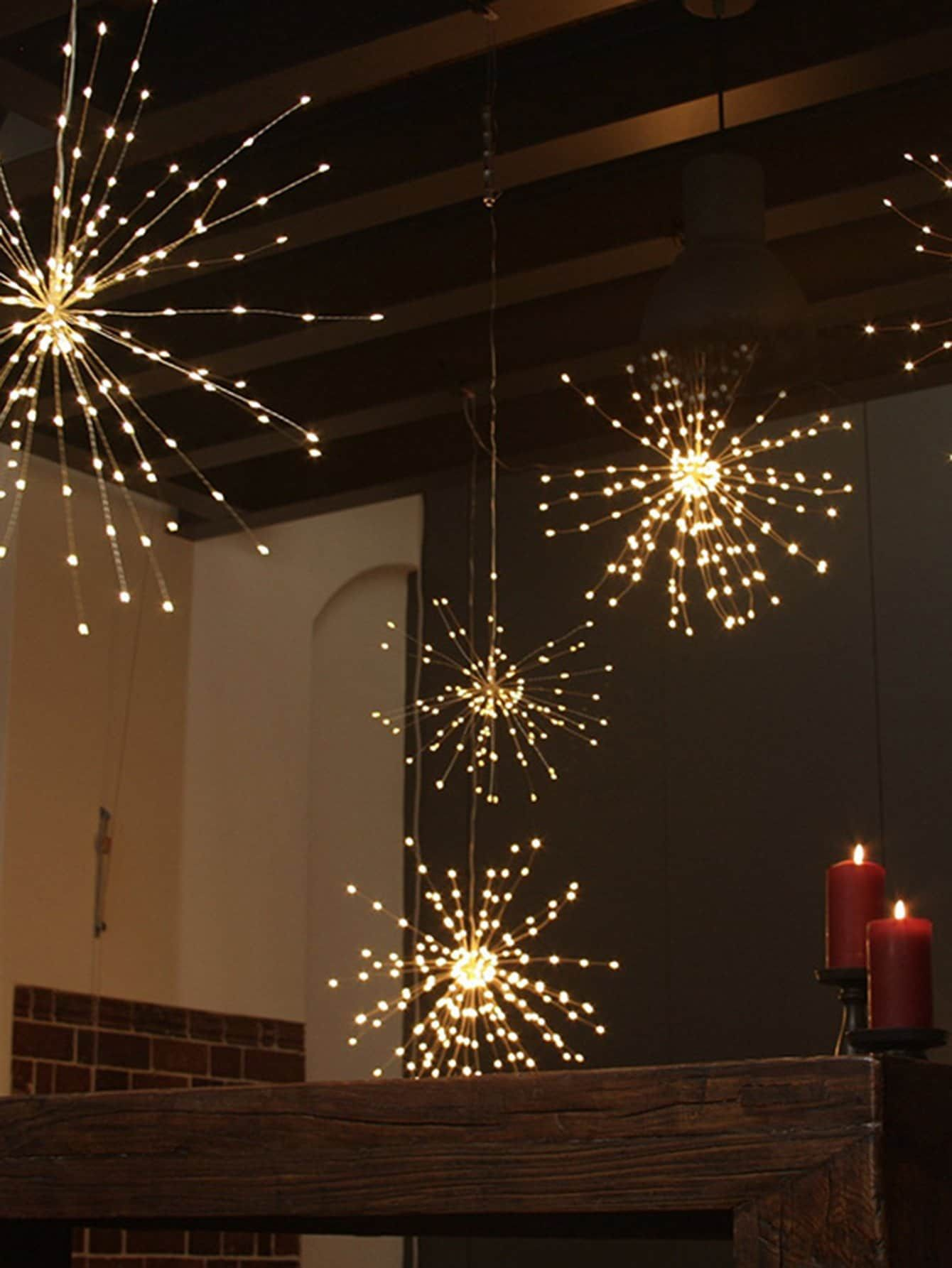 1pc Bunch Light With 40 Branches 12v Starburst Light Lighted Bouquet Hanging Christmas Lights