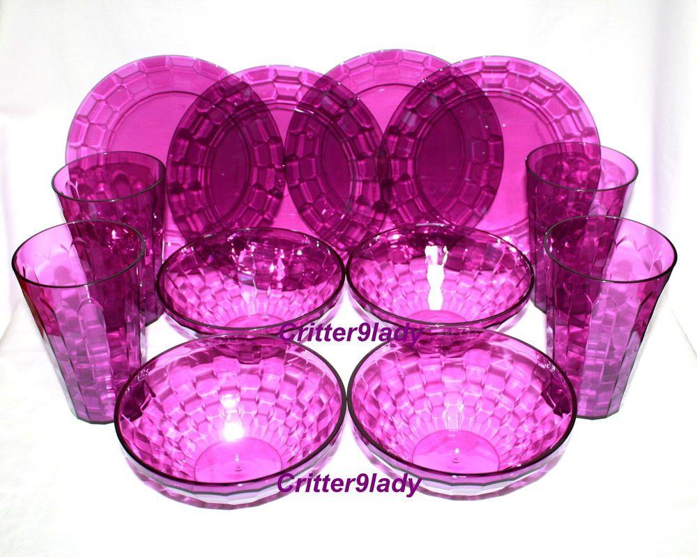Collectible Plastic Bowls \u0026 Bowl Sets (1970-Now) | eBay  sc 1 st  Pinterest & NEW Tupperware Ice Prisms Bowls plus Plates plus Tumblers Purple 12 ...