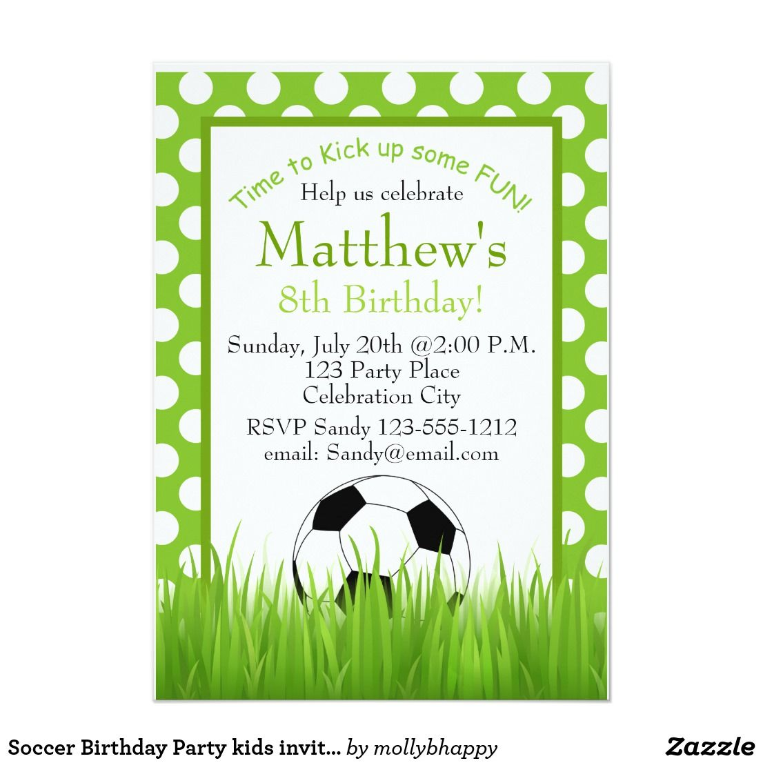 Soccer Birthday Party kids invitation customizable | { Happy ...