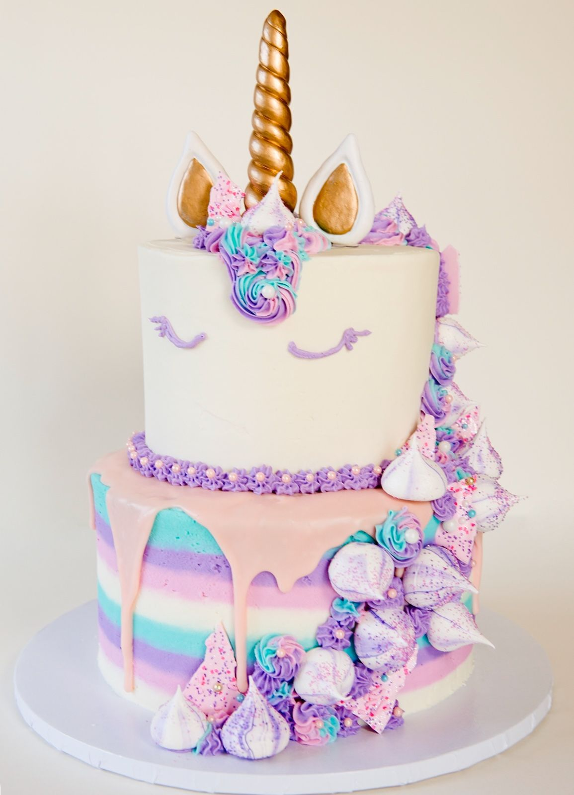 Jackiecellabakes Two Tier Unicorn Cake With Buttercream Meringues