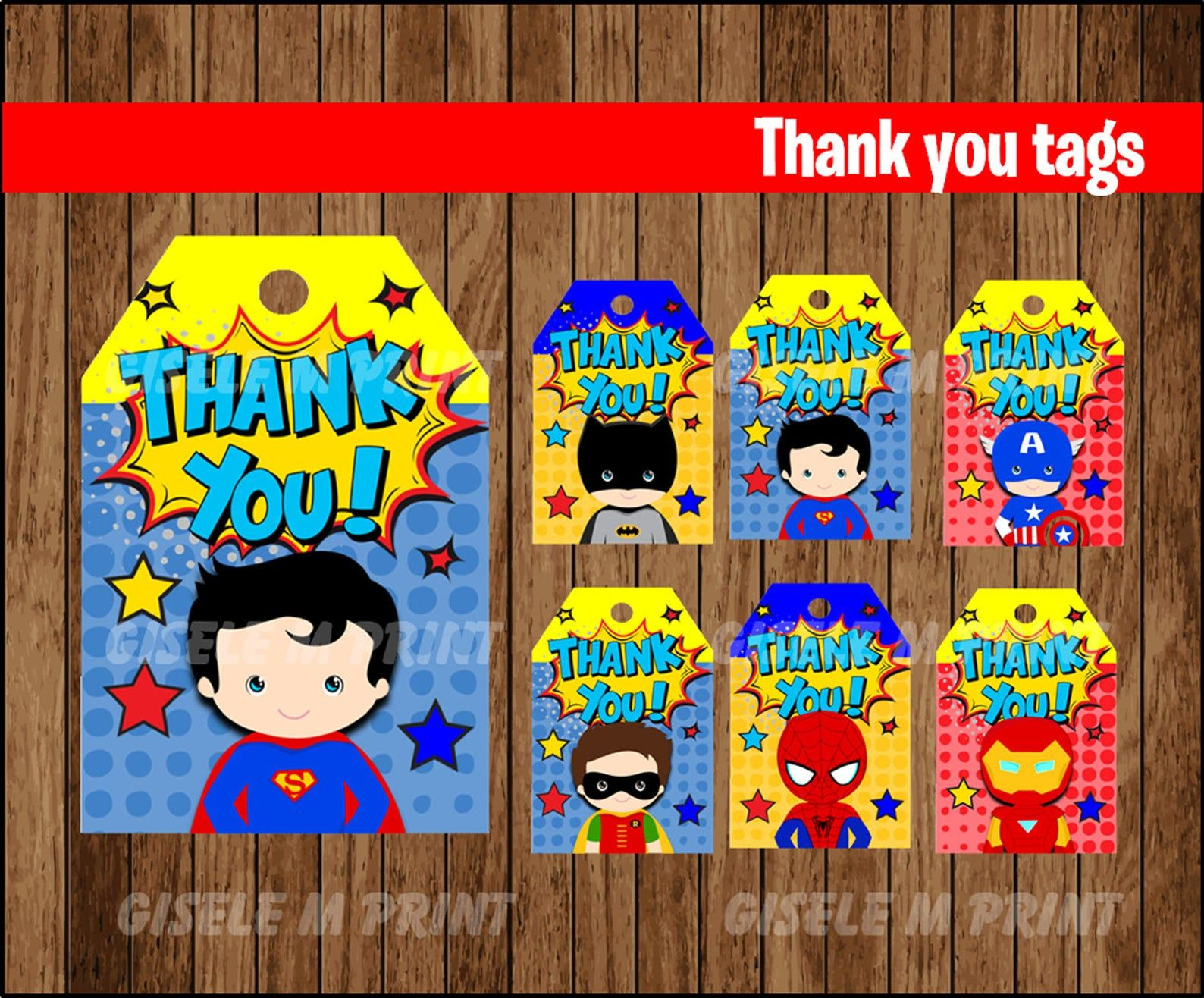 Superhero Thank You tags, Printable Superhero gift tags, Superhero Comics party Thank You tags instant download