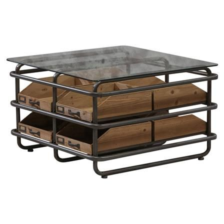 Industrial Metal And Wood 8 Drawer Coffee Table