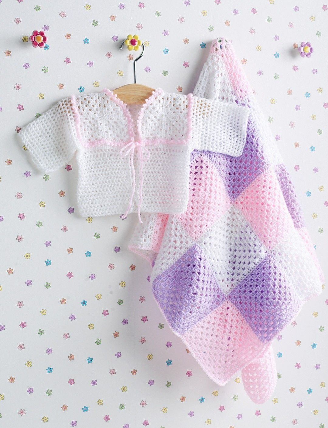 Yarnspirations.com - Bernat Girl\'s Jacket & Granny Square Blanket ...