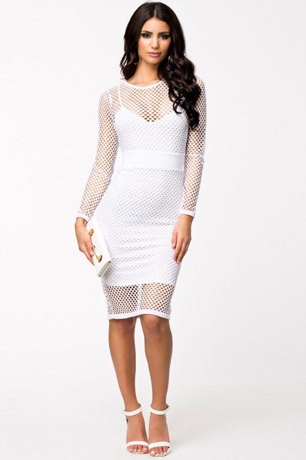b06986867b White Fishnet Round Neck Long Sleeve Party Dress  White  Dress  maykool