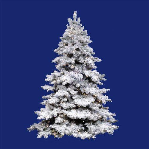 10\u0027 Pre-Lit Flocked Alaskan Full Artificial Christmas Tree - Clear