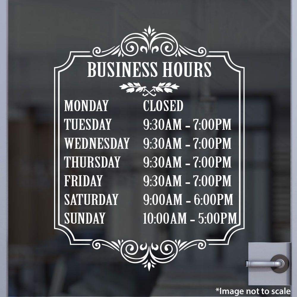 Bakery Open Hours Stickertitans Com Custom Business Business Hours Sign Shop Signs Custom Business Signs