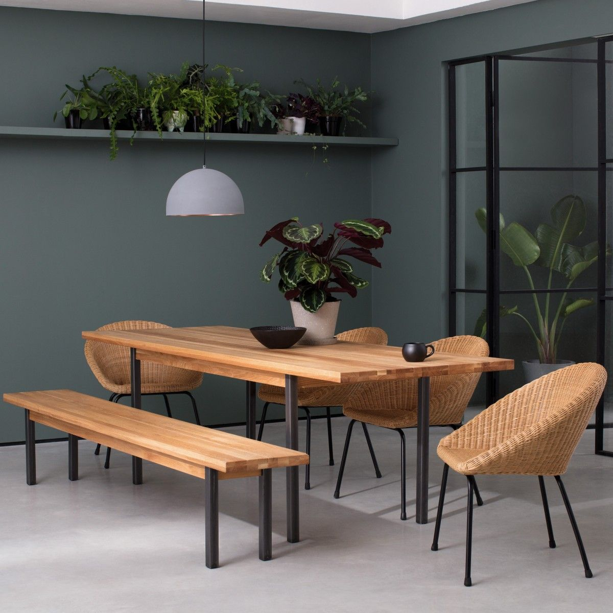 Feliz seater solid oak dining table with metal legs copper