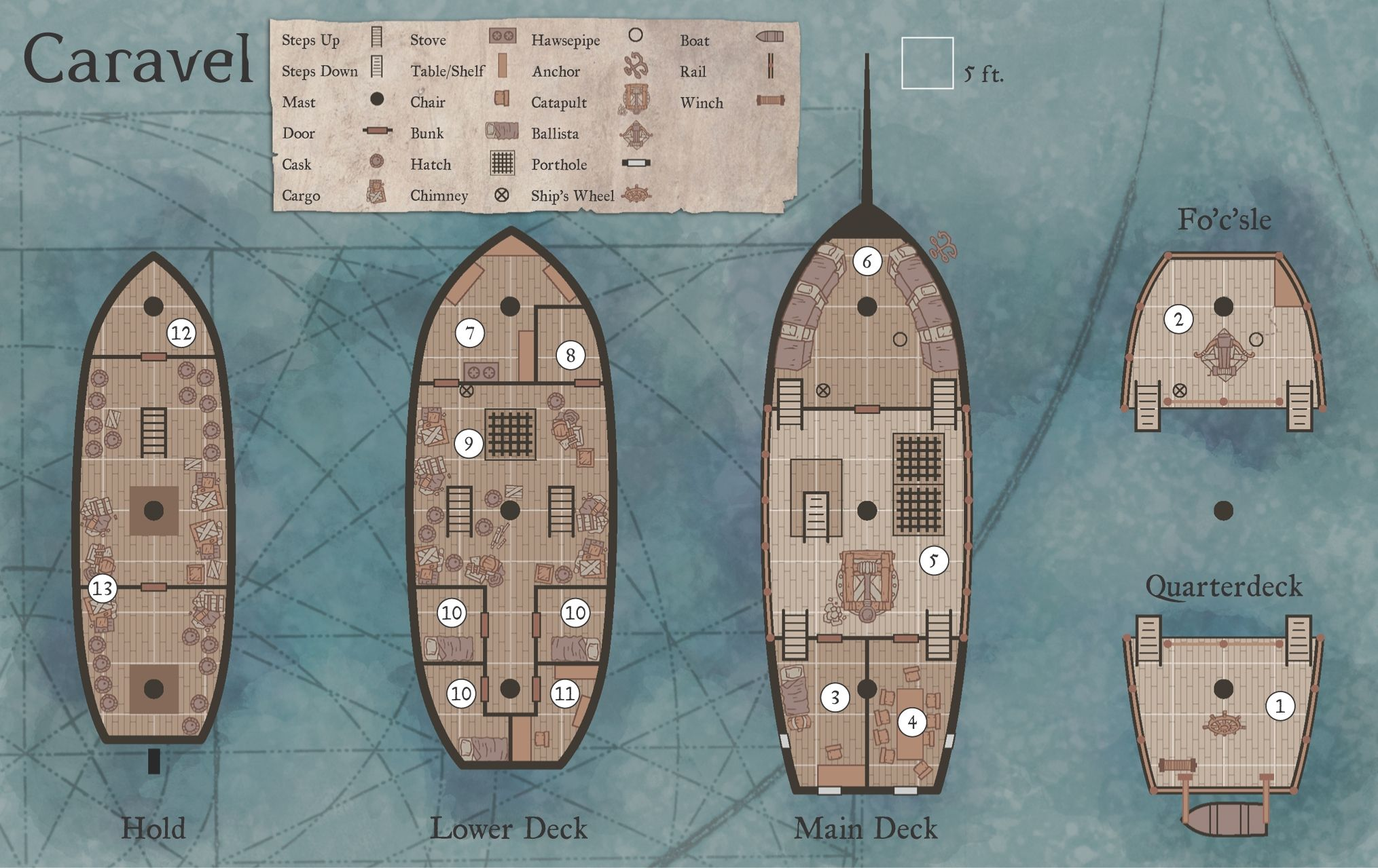 caravel dnd map ship | D&D 5e homebrew in 2019 | Ship map
