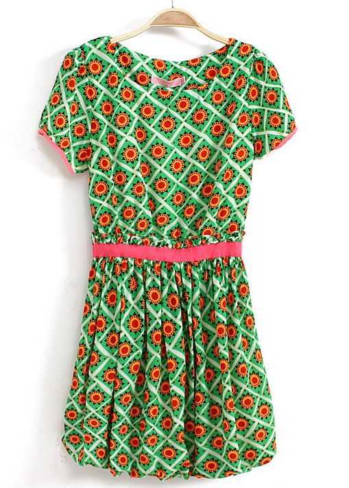 Green Short Sleeve Geometric Print Bandeau Dress - Sheinside.com