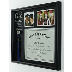 display your graduation memories in this frame with space to display your diploma this frame also has room for your tassel and two of your favorite