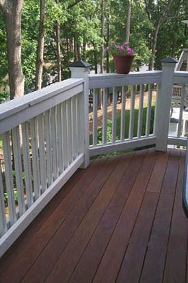 White Railing Around Timber Deck Gotta Stain Our Porch The Dark Wood To Match Inside Floors Beautiful